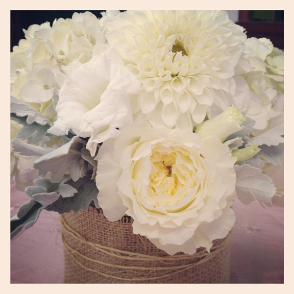 burlap twine and white flowers