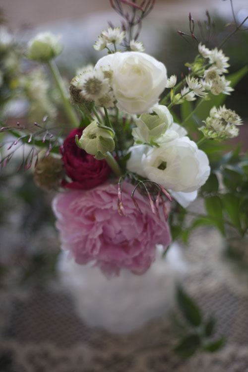 white and pink flower arrangement