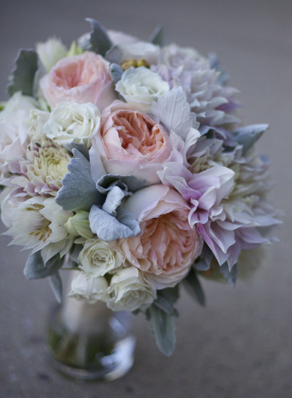 blush garden roses and dahlias