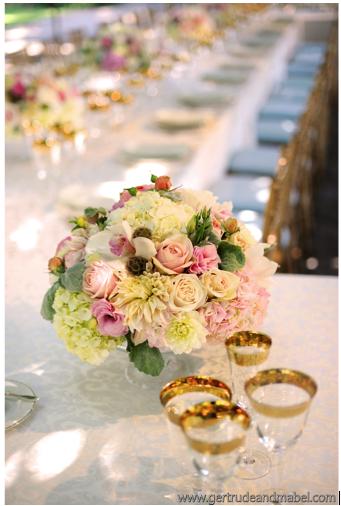 Nancy Liu Chin pink and white centerpiece