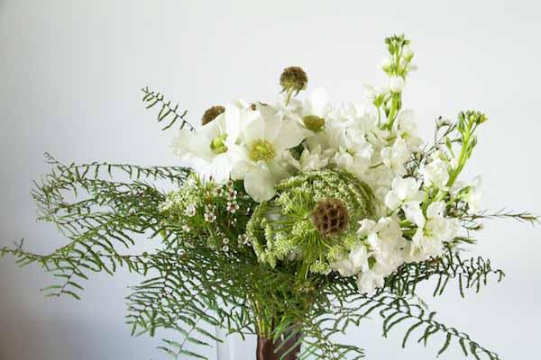 airy white flower bouquet