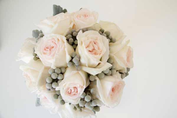 pink roses with grey brezillia berries