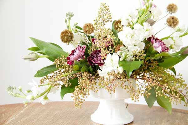 Flower Arrangement In A Compote Container
