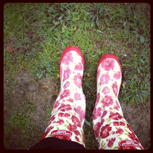laura ashley flower rain boots