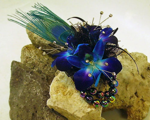 wristlet corsage orchid and peacock
