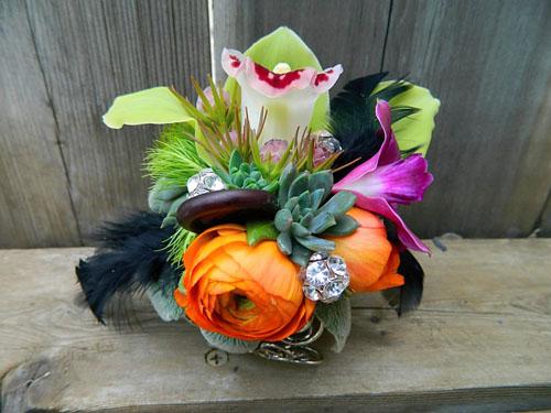 orange and green corsage