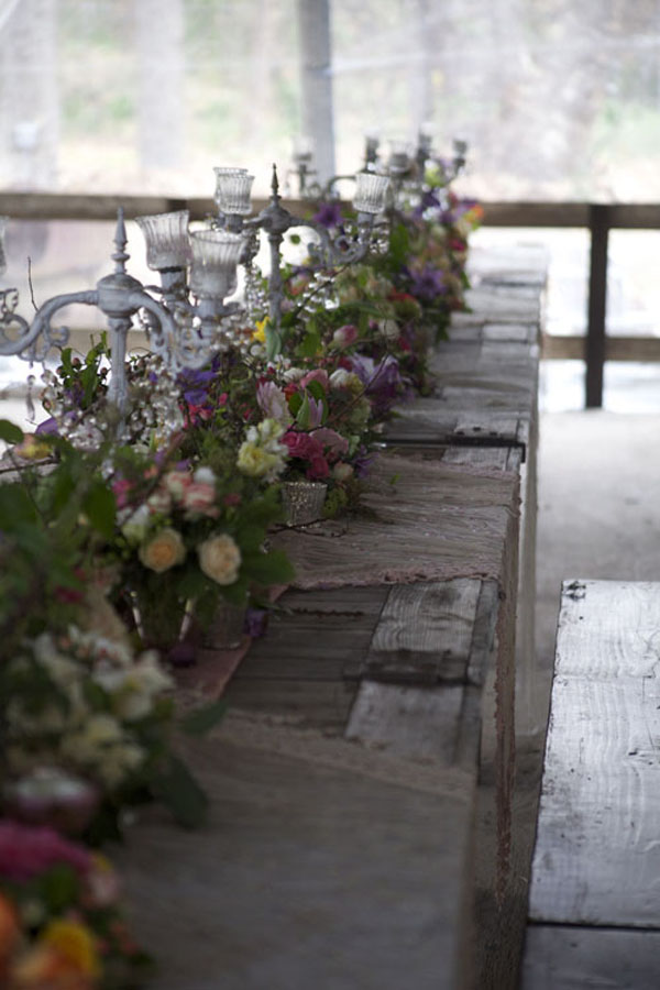 farm table set with flowers