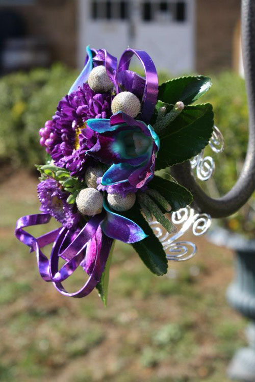 pink and teal corsage