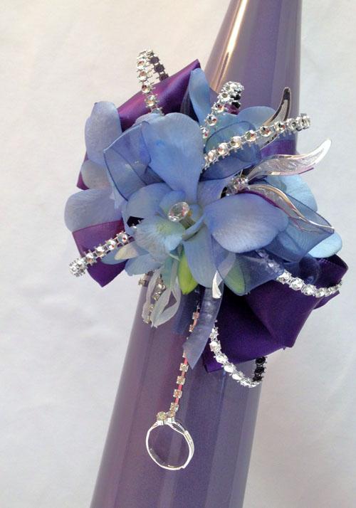 blue corsage and rhinestones