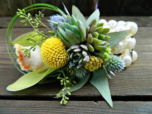 wristlet corsage with succulents
