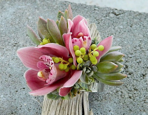wrist corsage with orchids