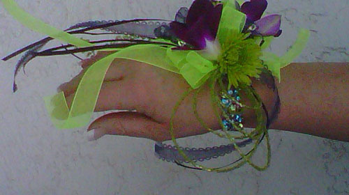 wristlet corsage with green and purple