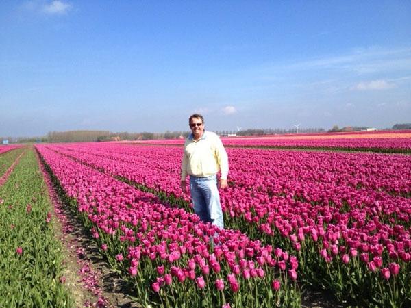 Joost in the tulip fields
