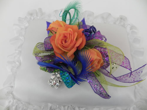 wrist corsage with feathers