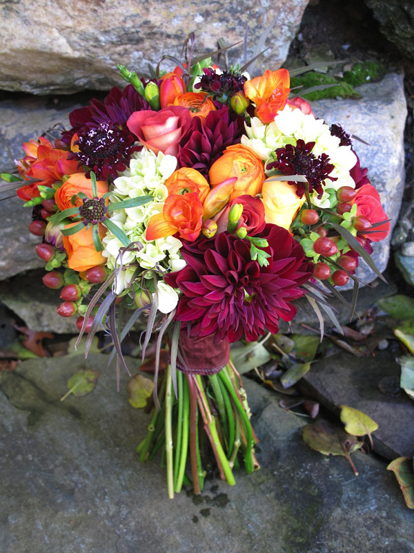fall bouquet of red orange white