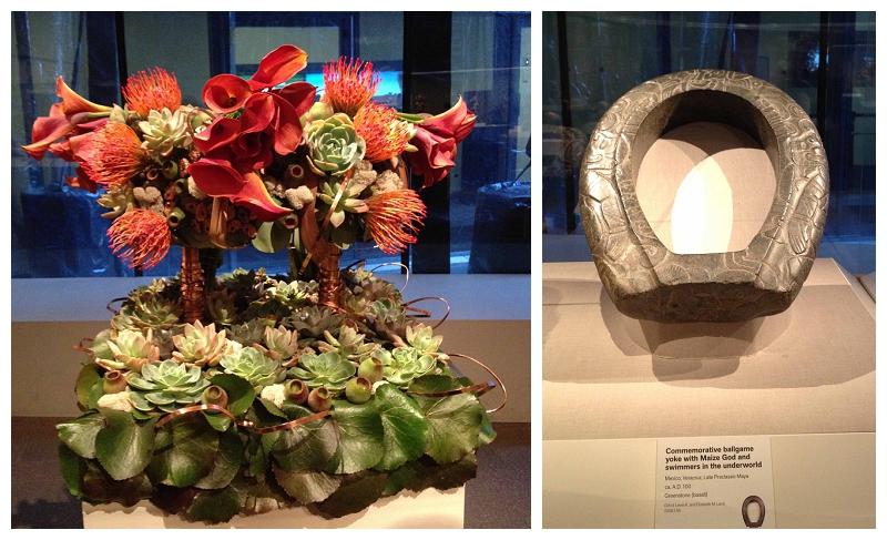 Floral Designer: AK Design. Art Piece: Commemorative ballgame yoke with underworld figures