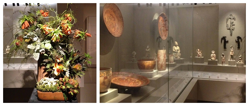 Floral Designer: April Flowers. Art Piece: Ancient Maya Wares and Figures