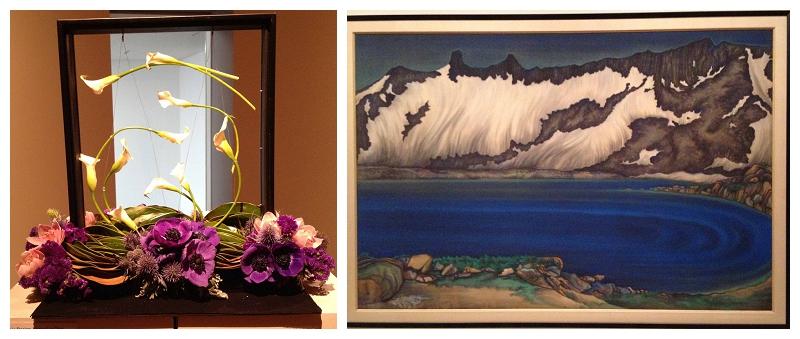 Floral Designer: Nancy Liu Chin. Art Piece: Chiura Obata, Lake Basin in the High Sierra