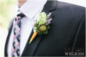 Designed by Laurie of Fleurie, Reedly, California. 1 Lisianthus 1 Scabiosa pod 1 Love in a Mist 3 Lavender Spikes 1 Geranium Leaf Ribbon $15.00 (Photography by Megan Welker Photography)