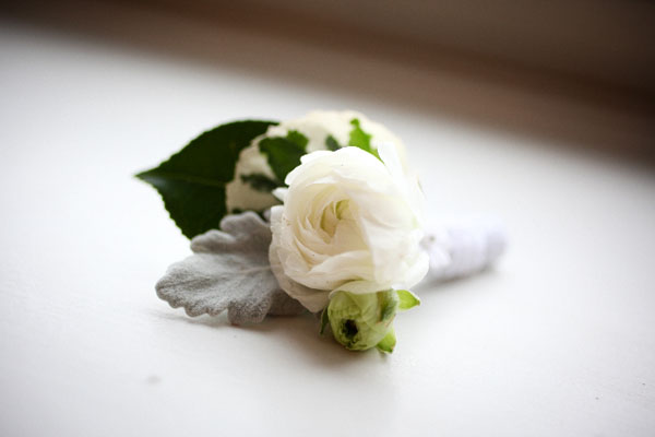 Ranunculus, arailia foliage, dusty miller Salal, chiffon ribbon, accent   applique  $15.00