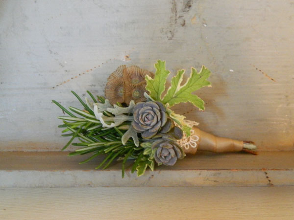 succulent and pod boutonniere