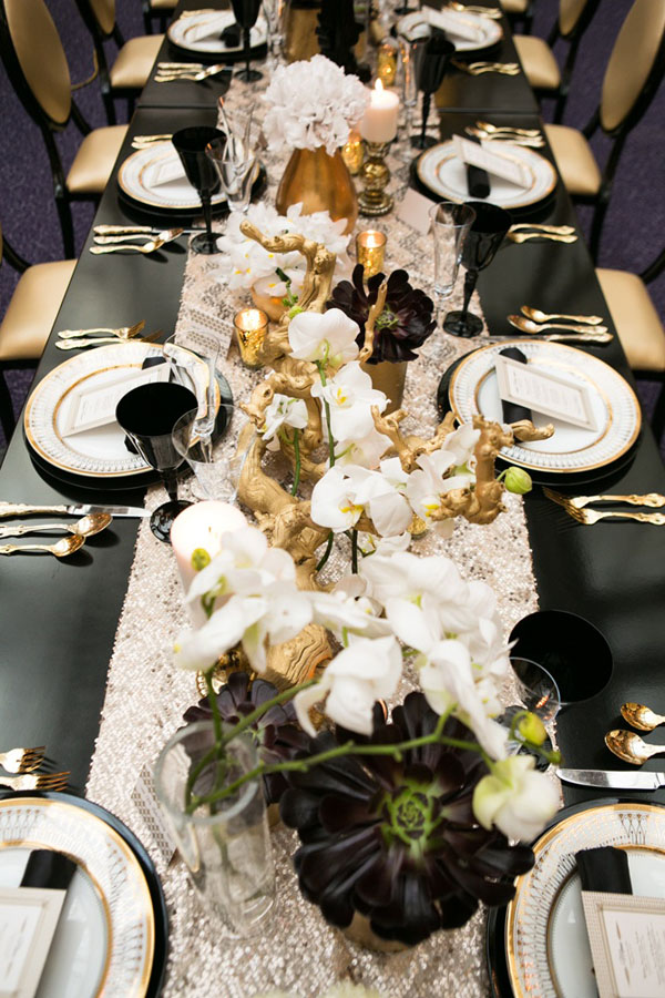 Black Gold White Table Setting