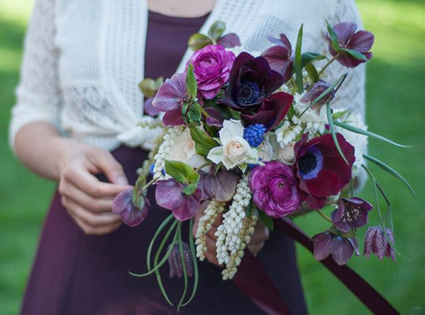 bouquet of purples and whites