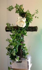sympathy cross of flowers