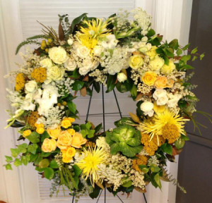 sympathy yellow wreath flowers