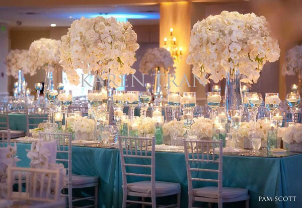 all white elevated centerpieces