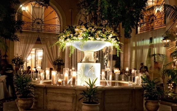 fountain full of flowers