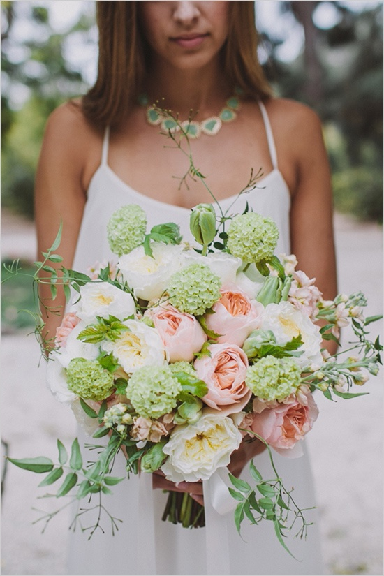 bridal bouquet of viburnum and garden roses