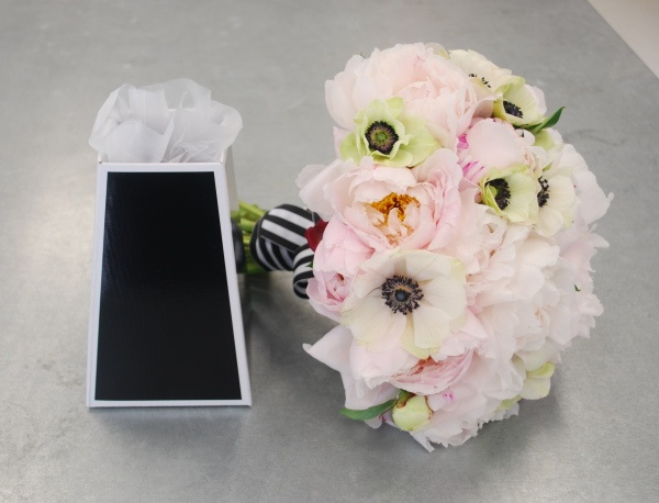 bouquet of pink peonies and white anemones