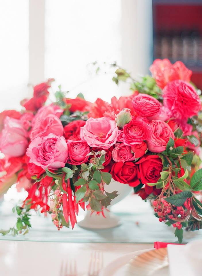 pink and fuchsia flower centerpiece