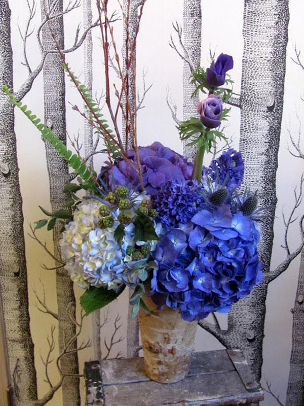blue hydrangea arrangement