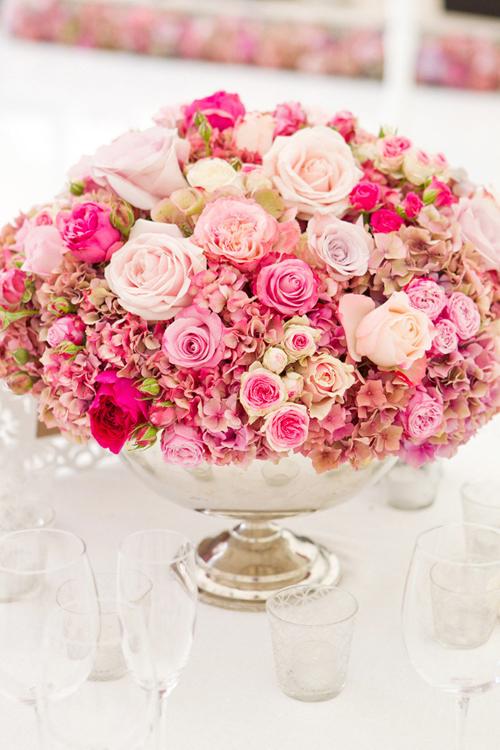 lush pink elegant flower centerpiece