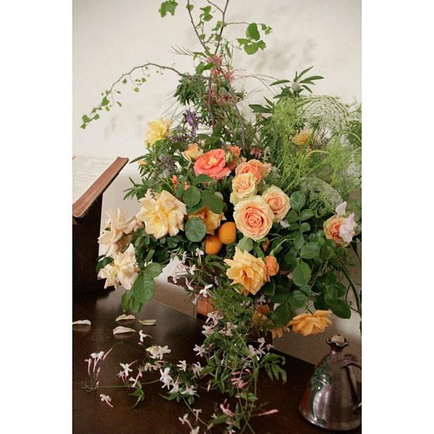 peach and green flower arrangment