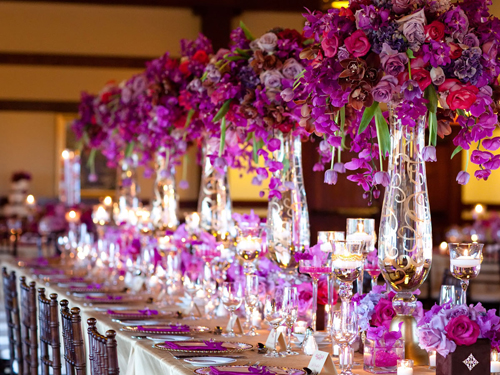 purple and fuchsia tall flower centerpieces