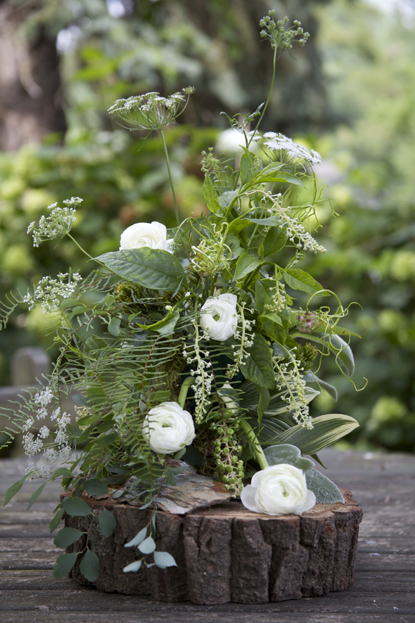 white and green woodland arrangement
