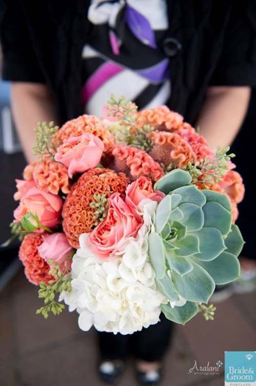 coral and white bridal bouquet