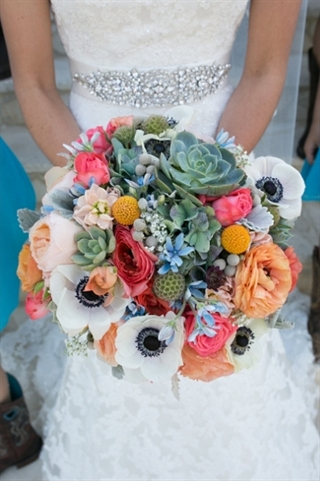 bridal bouquet with succulents and anemones
