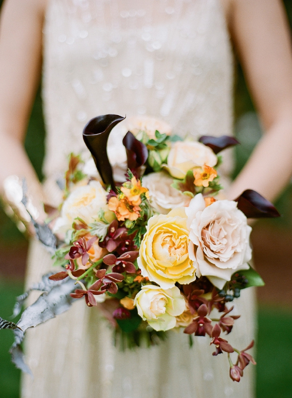 blush yellow and burgundy bridal bouquet