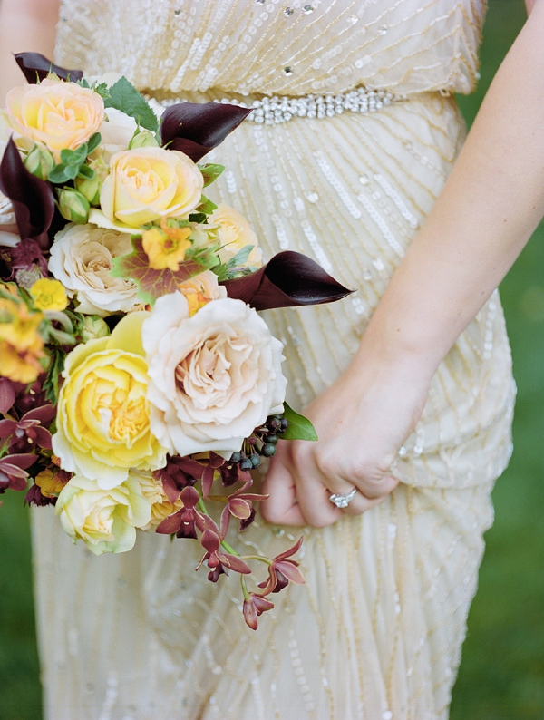 yellow burgundy and blush bridal bouquet