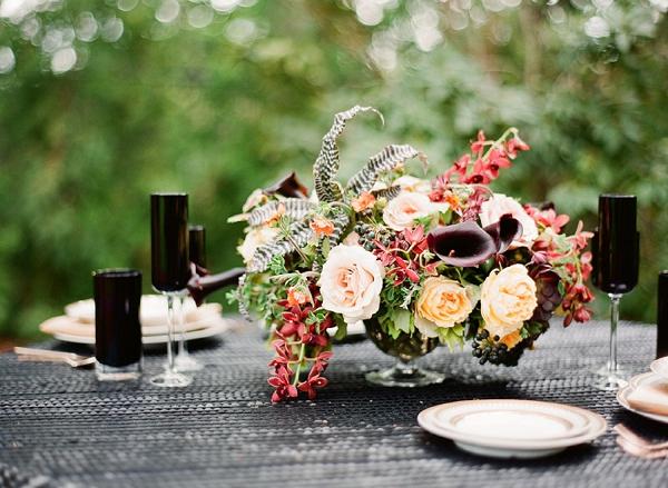 modern black wedding reception