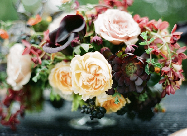 yellow and black flower centerpiece