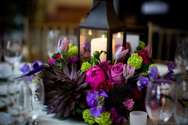 burgundy pink lantern centerpieces