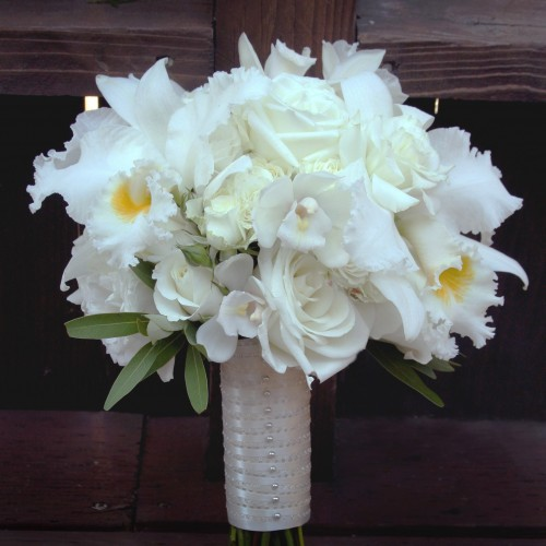 white orchid and rose bridal bouquet