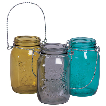 Available from Pioneer Imports and Wholesale, a great set of colored glass hanging mason jars - they also have clear hanging mason jars, perfect for aisle decor!