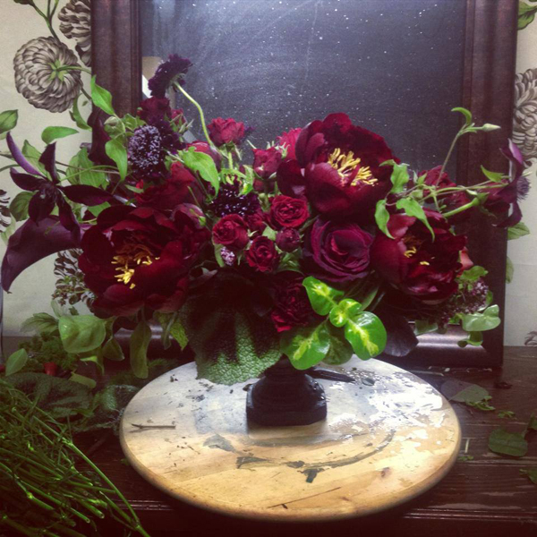 burgundy flower centerpiece