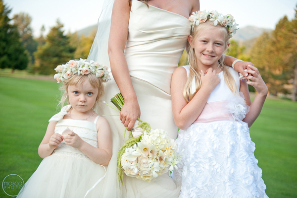 white and pink flower girl halos